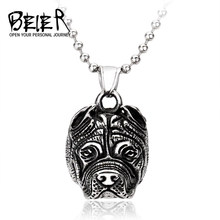 2017 Stainless Steel Pendant Necklace Animal Bulldog Dog Chain For Boy New Design Cool Jewelry BP8-119(China)