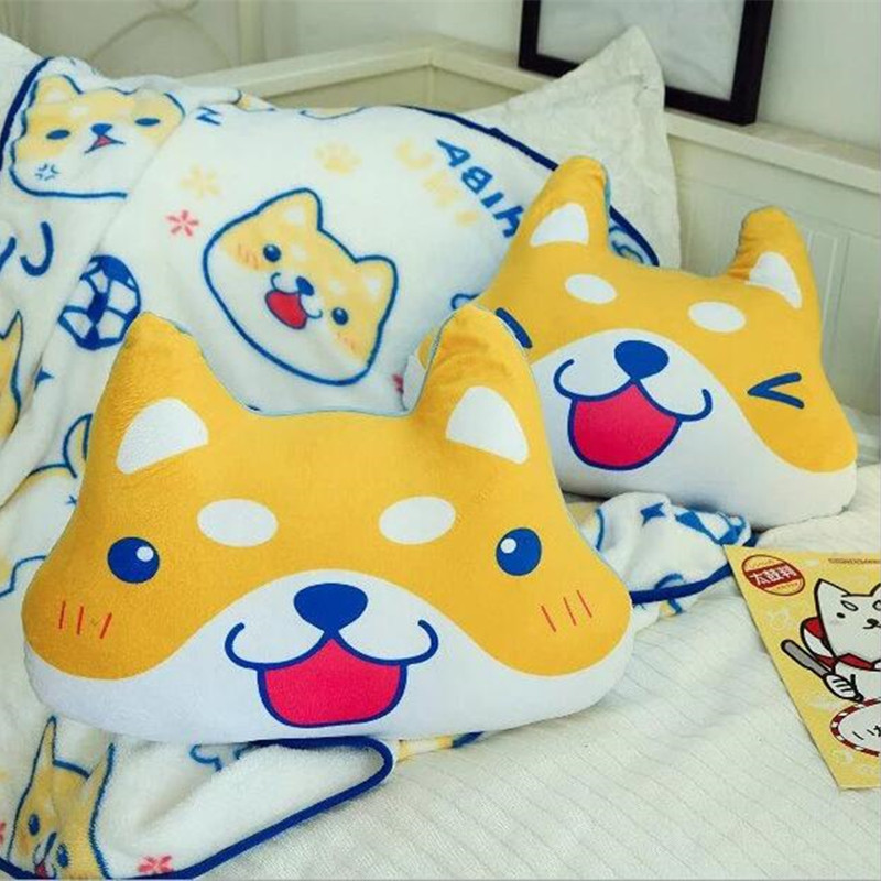 Buy Cheap Cartoon Shiba Akita Dog Puppy Stuffed Cushion Plush Hand Warm Blanket Birthday Christmas Gift #1032