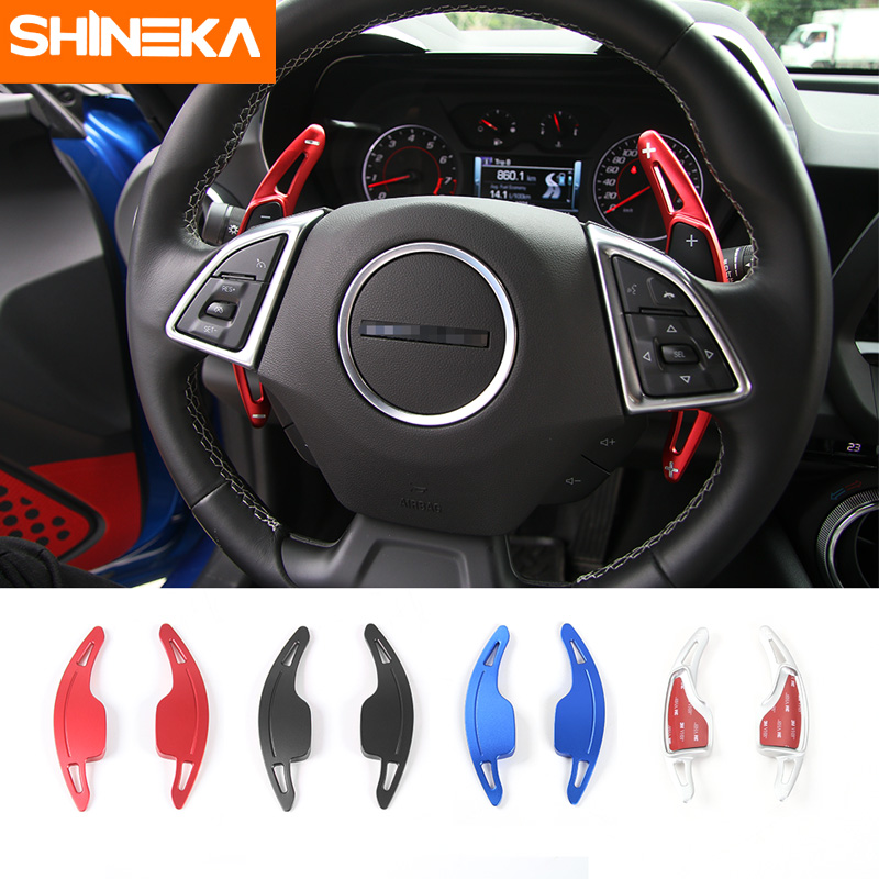 SHINEKA Paddle Shifters Steering Wheel Shift Paddles Decoration Trim for 6th Gen Chevrolet Camaro 2016 2017 Car Styling shineka abs interior kits copilot passenger side panel decoration trim carbon fibre style for 6th gen chevrolet camaro 2017