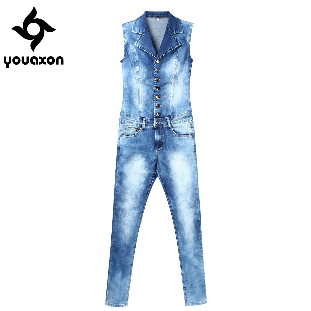 2043 Youaxon Women`s Plus Size Brand New Fashion Blue Stretch Denim Skinny Slim Fit Pants Jumpsuit Jeans For Women Jean Overalls denim