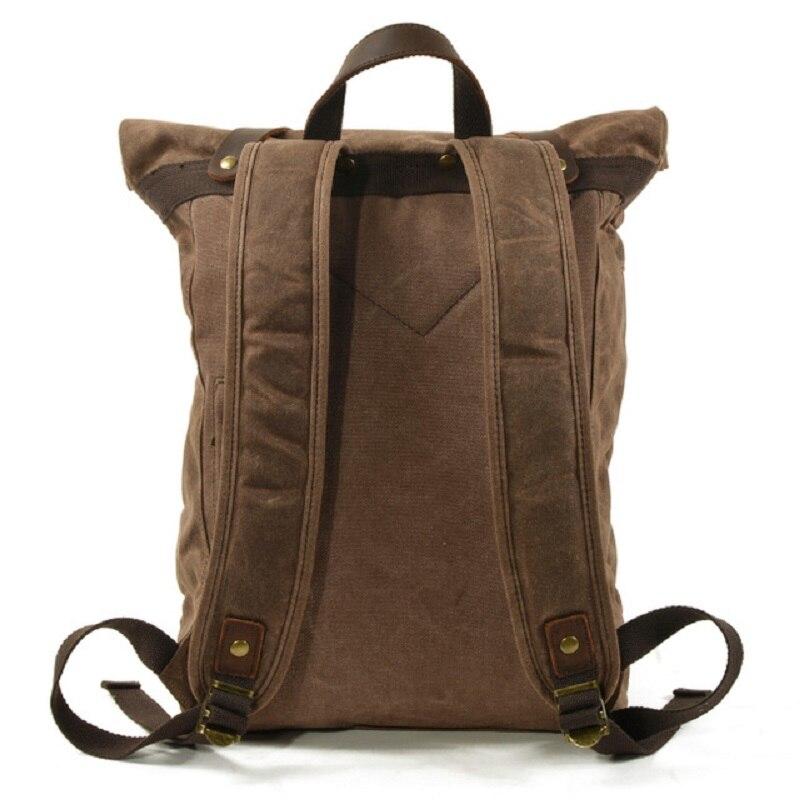 M269 nouveau luxe Vintage toile sacs à dos pour hommes huile cire toile cuir voyage sac à dos grand imperméable Daypacks rétro sac à dos - 3