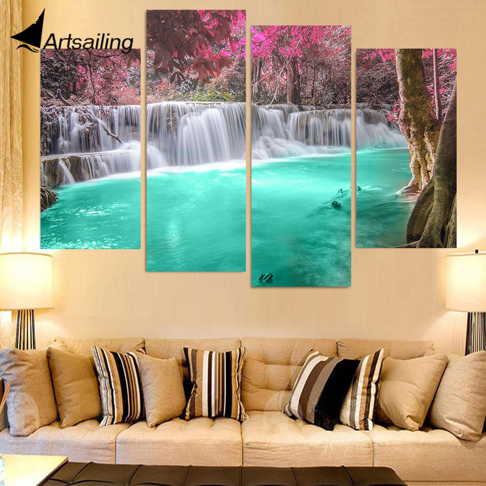 4 Piece Canvas Painting Waterfalls Pool HD Printed Canvas ...