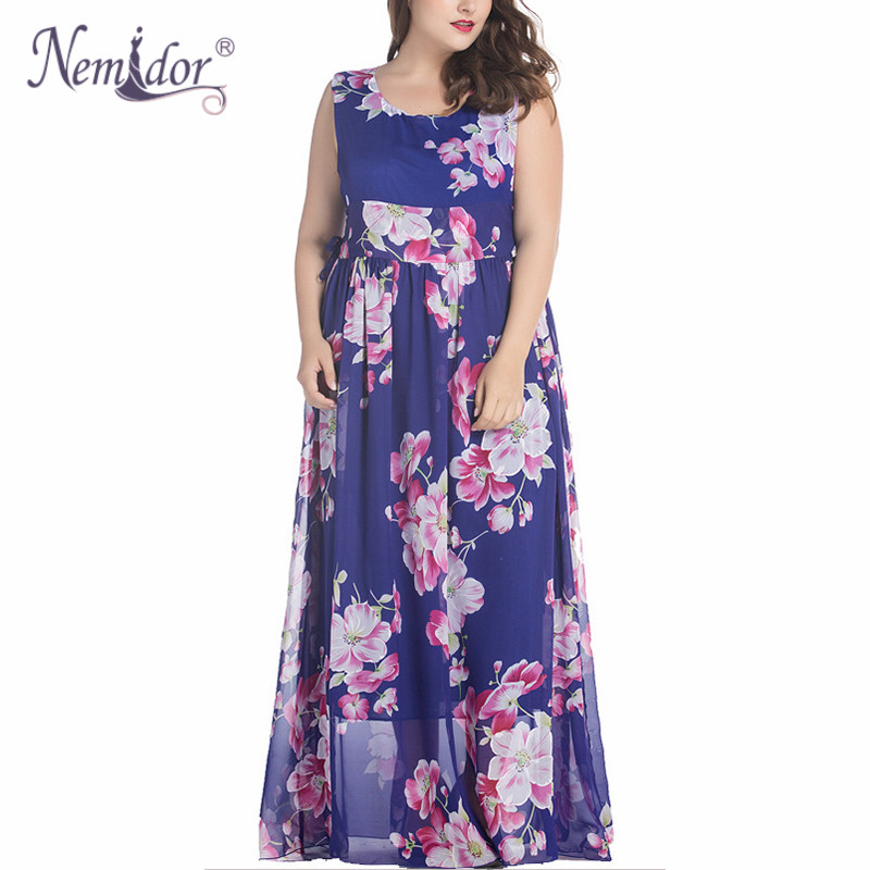 Nemidor 2018 Women Casual O-neck Sleeveless Floral Print Dress Plus Size 6XL Party Stretchy Chiffon Long Maxi Dress