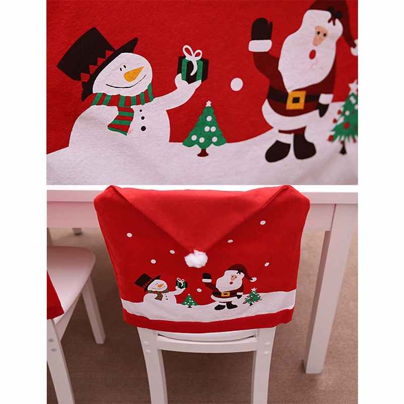 9a4195d5da1d8 ... New Removable Santa Red Hat Chair Covers Christmas Decorations Dinner  Chair Xmas Cap Sets Folding Hotel ...