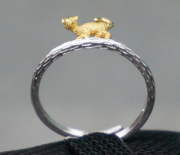 Personality design 925 sterling silver opening female ring small leopard two tone color brushed silver design fashion jewelry