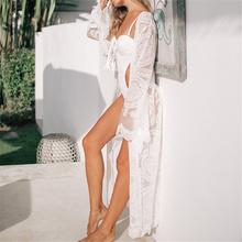 Luksusowy długi Sea Beach Wrap sukienka Elegant strój kąpielowy pokrycie białej koronki tunika Beach sarong Plage Robe Kaftan kobiet tuniki A39 tanie tanio Poliester Pasuje do większych niż zwykle Sprawdź informacje o rozmiarach tego sklepu EDOLYNSA Stałe Biały Duży rozmiar