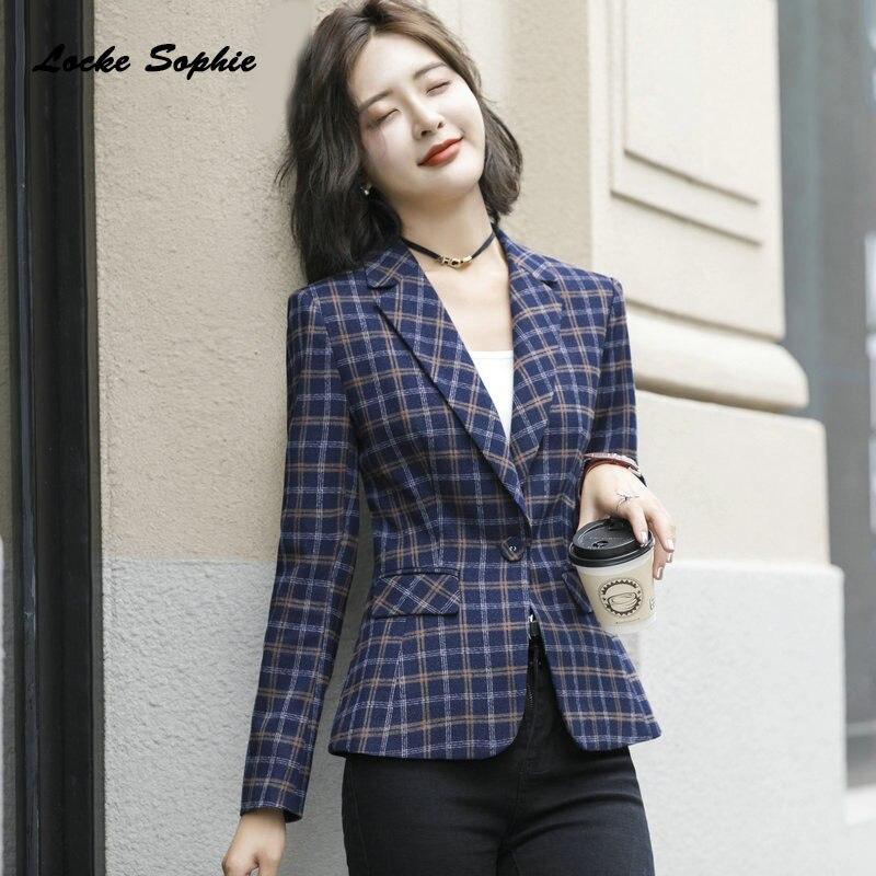 1pcs Women Plus Size Slim Fit Blazers Coats 2019 Spring Cotton Blend Plaid Suits Jackets Ladies Skinny Office Blazers Suits Coat