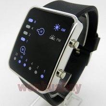 Azul Reloj Binario LED Digital de Silicona Negro Mujeres de Los Hombres Del Reloj Del Deporte Envío Gratis