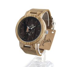 BOBO de AVES H30 Mens Cebra Doodle de Impresión de Madera Del Reloj Del Cuarzo Dial Luminoso Mano De Madera De Bambú Reloj uhren hombres de Cuero Negro