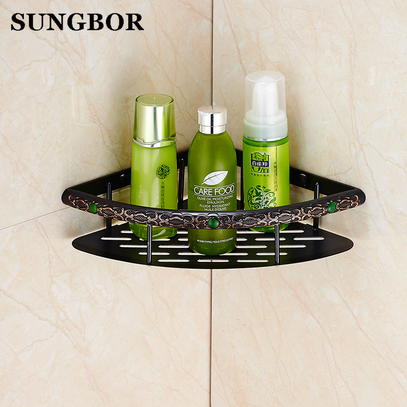 Single Tier Wall Mounted black finish Carving Brass Bathroom Shower shampoo Shelf Basket Holder FA-80815 single tier wall mounted black finish carving brass bathroom shower shampoo shelf basket holder i633