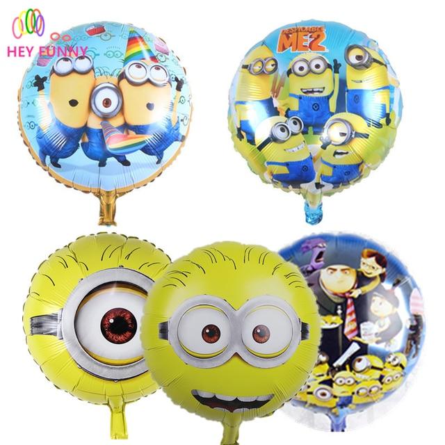 3pcs/lot  minion balloon 18 inch round Despicable balloon birthday party Foil helium balloon yellow man cartoon air globos