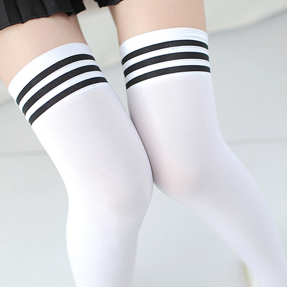 8d3fe7e7629 Medias Sexy Fashion Striped Knee Socks Women Cotton Thigh High Over The Knee  Stockings for Ladies