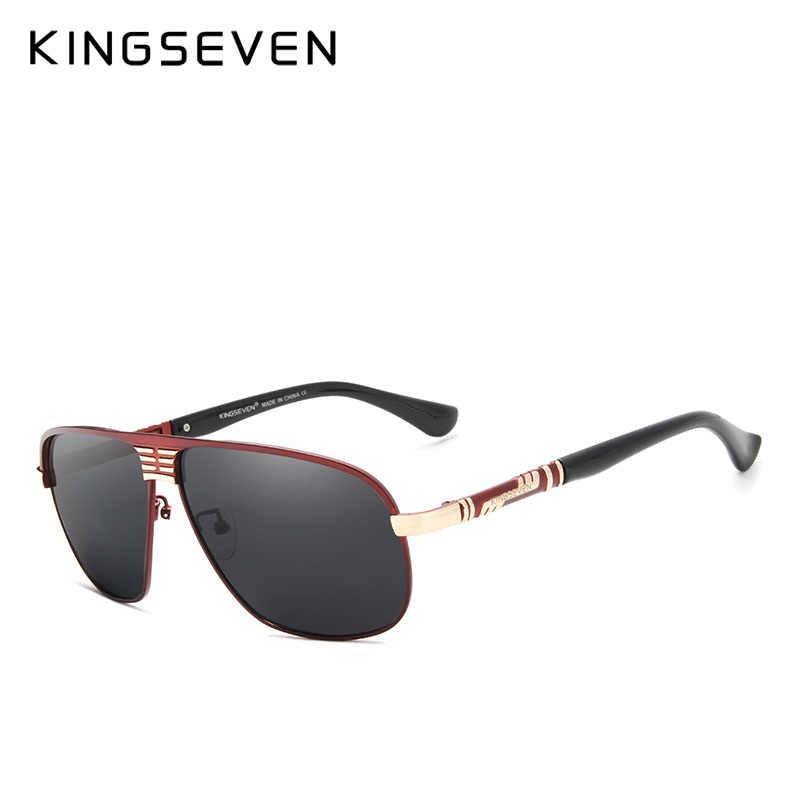 Классические поляризованные солнцезащитные очки KINGSEVEN, алюминиевые брендовые солнцезащитные очки в стиле ретро, мужские очки с покрытием, черные очки для вождения, квадратные очки, мужские очки