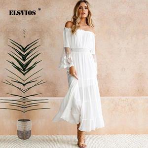 9e098e1dd98 ELSVIOS Sexy Lace Women Beach Long Ladies Maxi Dresses