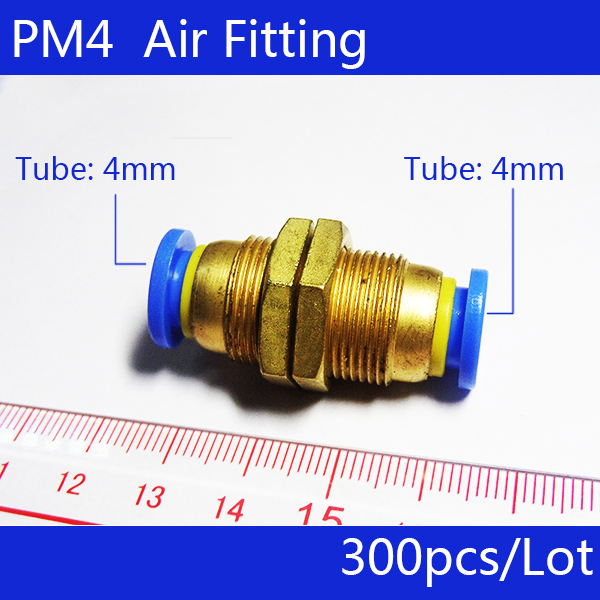 Free shipping 300Pcs 4mm Pneumatic Air Valve Push In Joint Quick Fittings Adapter PM4 5 pcs air pneumatic connection adapter 10mm push in quick fittings