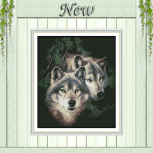 Forest Two wolves couple decor painting counted printed on canvas DMC 14CT 11CT DIY Cross Stitch Embroidery kits Needlework Sets(China)