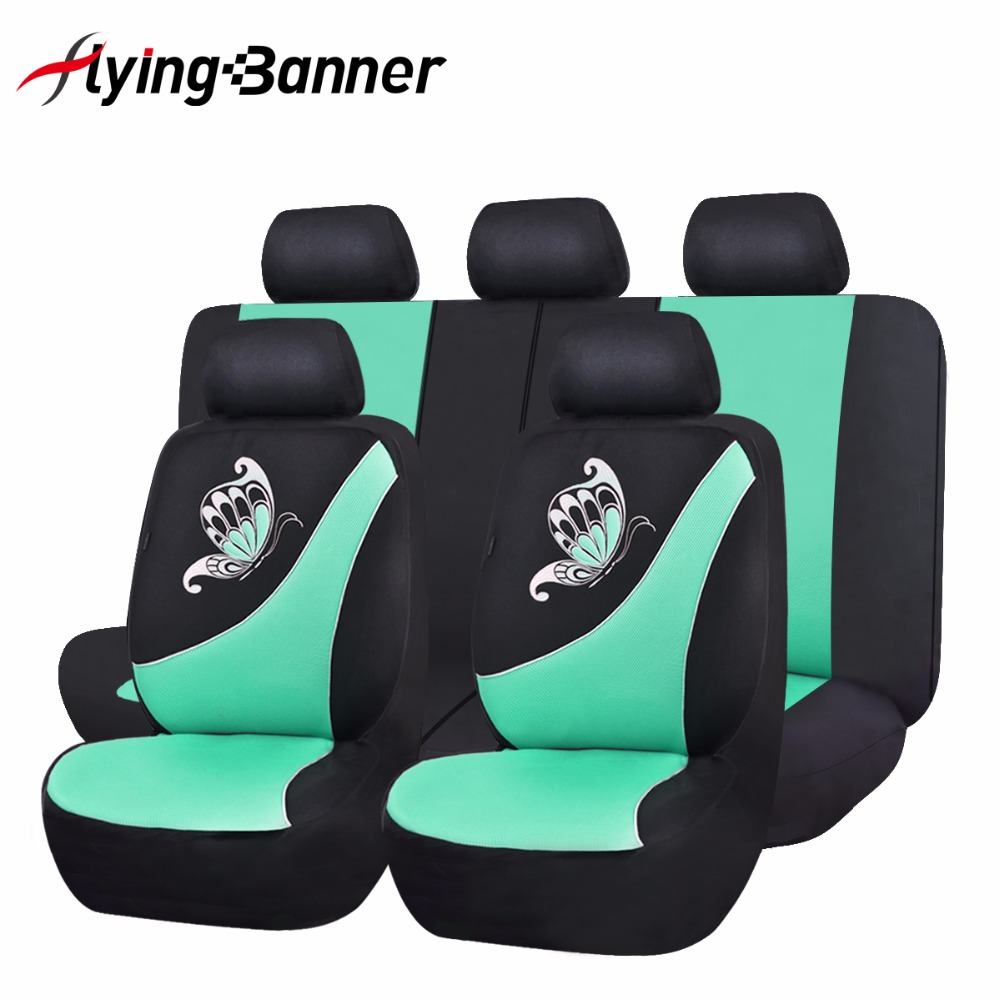 2017 New Car Seat Cover Butterfly Printing Pink Green Seat Cover Universal Purple Car Accessories Cute