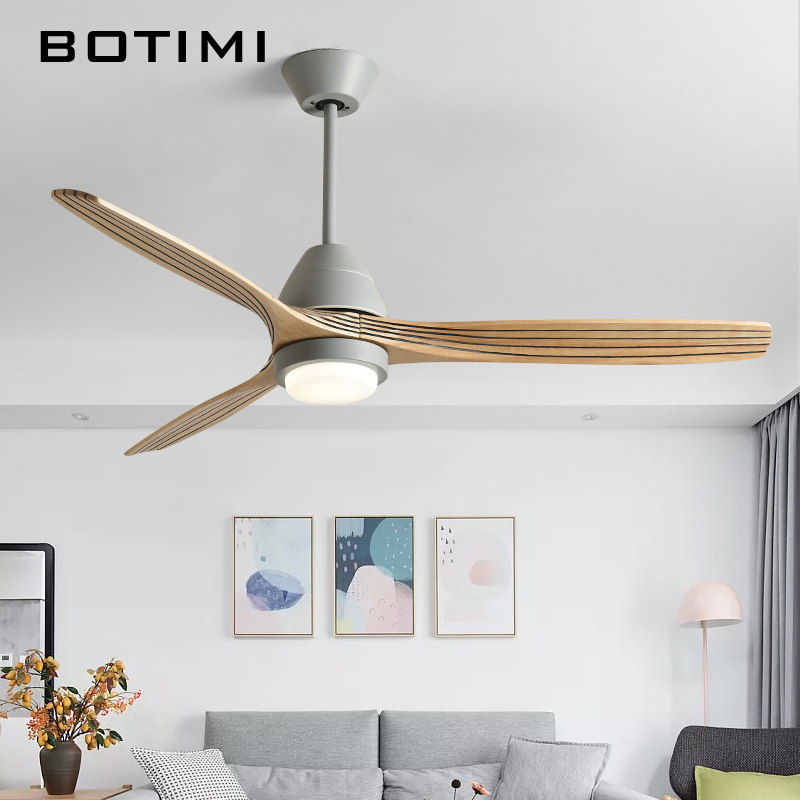 BOTIMI 220V Reversal Fuction 52 Inch Led Ceiling Fan With Lights For Living Room Ventilateur De Plafon Bedroom Cooling Fan Lamp