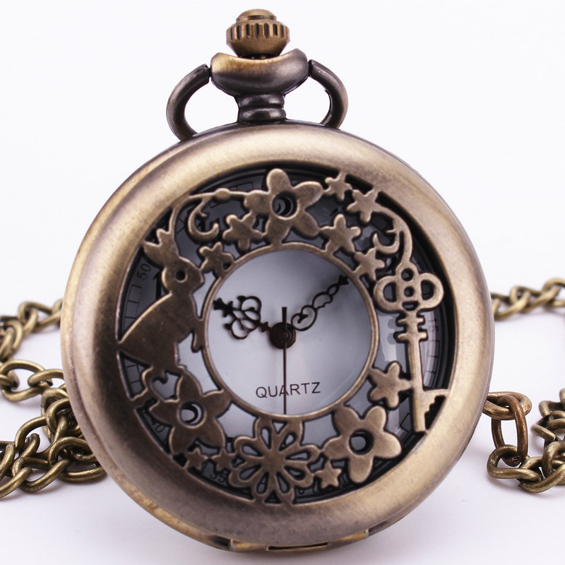 Fairy Tale Vintage Lovely Alice Wonderland Rabbit Pocket Watch Quartz Pendant Clock With Chain Necklace Girl
