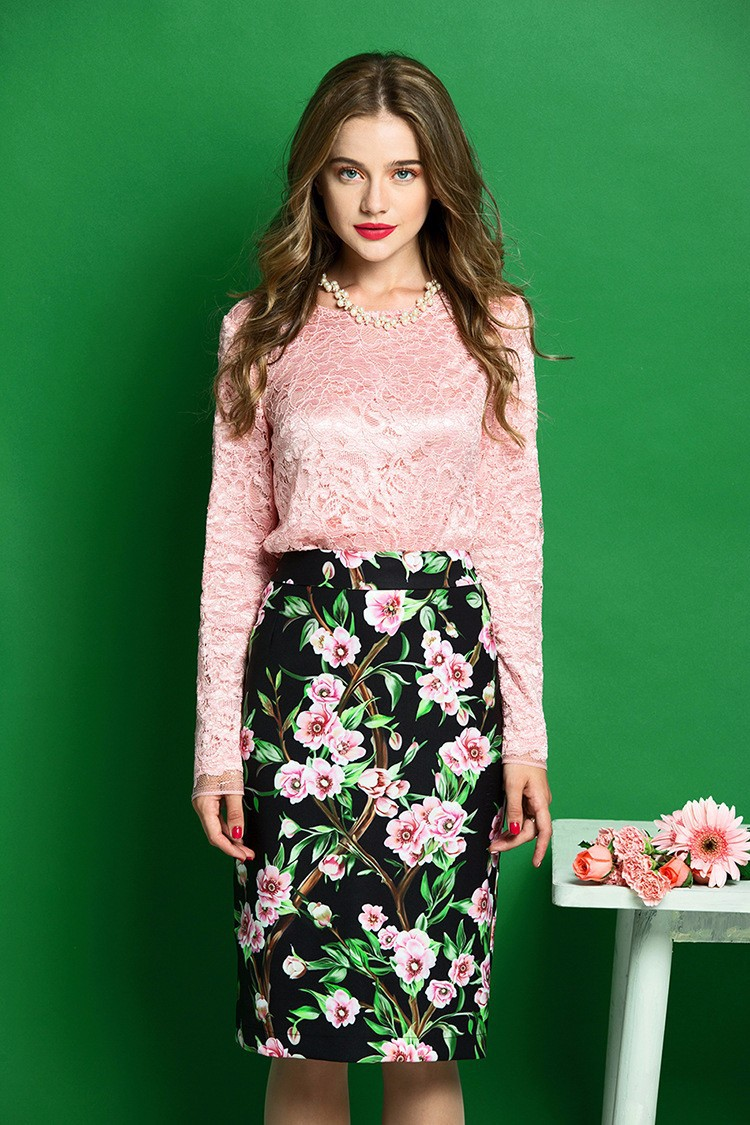Elegant Women Skirt Suits Long Sleeve Lace Blouse and Floral Print Slim Fit Pencil Skirt Women Business Work Wear (4)
