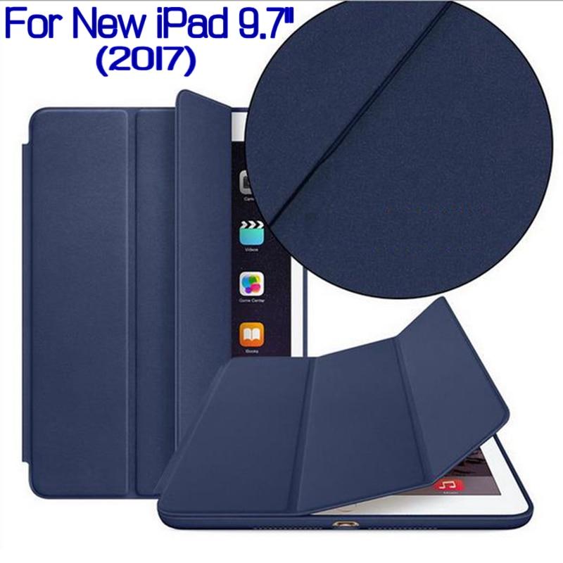все цены на Newest Ultra-thin Folding Smart PU Leather Cover for 2017 New iPad 9.7 Tablet Funda Case With Auto Sleep/Wake+Free Screen Film онлайн