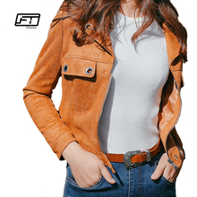 Fitaylor Leather Jackets Motorcycle Jacket Pu Blazer Coat Zippers Fashion Bomber cuir Collar Faux Brown Suede Short Women Coats