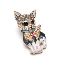 Vintage Crystal Animal Cute Cat Brooch Pins Brooches For Women Fashion Pin up Accessories Wedding Bride Jewelry