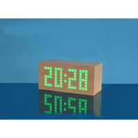 LED Wooden Alarm Clock with Temperature Date Desk Table Clock for Bedroom Home Decorative