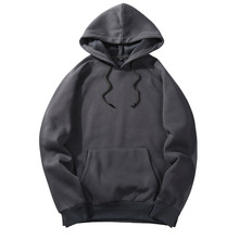2019 Solid Color Thick Men's Hoodies 2018 European Size Hooded Pullover Hoodie Fashion Big Size Sweatshirts Fleece Couples(China)