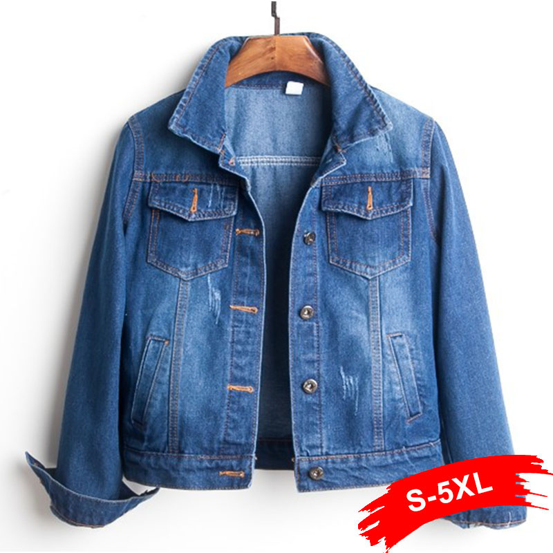 Plus Size Ripped Hole Cropped Jean Jacket 4Xl 5Xl Light Blue Bomber Short Denim Jackets Jaqueta Long Sleeve Casual Jeans   Coat