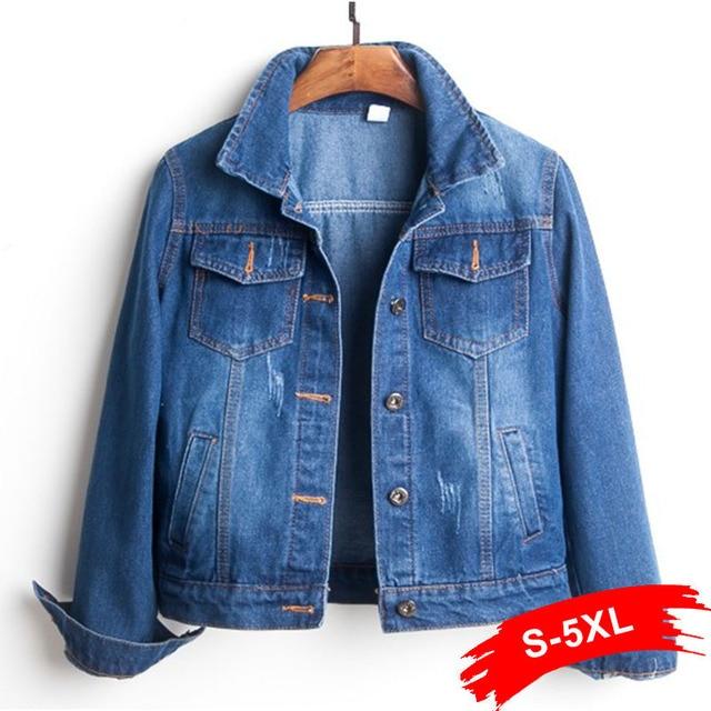 בתוספת גודל Ripped חור קצוץ ז 'אן מעיל 4Xl 5Xl אור כחול מפציץ קצר ינס מעילי Jaqueta ארוך שרוול מזדמן ג' ינס מעיל