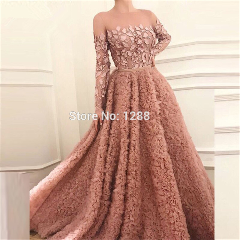 Elegant Muslim   Evening     Dresses   2019 A-line Long Sleeves Tulle Lace Long Islamic Dubai Saudi Arabic Long Formal   Evening   Gown