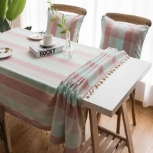 Home textile striped waterproof tablecloth Mediterranean wind blue fabric cotton linen Small fresh table rectangular tea