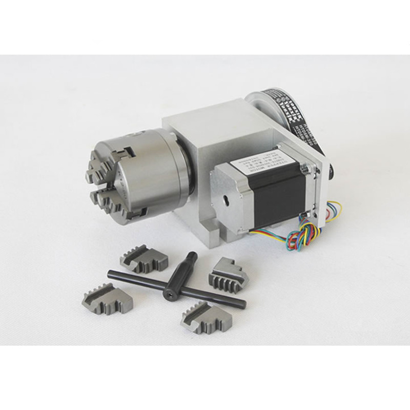 Nema 23stepper motor (6:1) K12 100mm 4 jaw Chuck 100mm CNC 4th axis (A aixs, rotary axis)&Tailstock for Mini CNC router