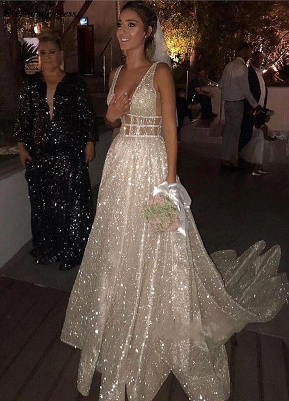 2019 robes de mariée scintillantes pour mariée col en V dos ouvert perles perles une ligne balayage Train modeste robes de mariée Vestido de noiva