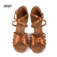 WOMAN Dance Shoes Ballroom Women Latin shoes High Quality Female Dancing Wear resistant sole BD 216 Light Beige Satin Authentic