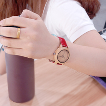 Red Leather Band Wooden Quartz Watches