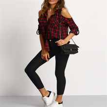 Blouse Cold Shoulder Women Sexy Top Checkered Shirts Red Plaid Chemise Femme Long Sleeve Ladies Tops Casual Shirt (China)