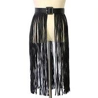 2018 New Designer Sexy Black Long Leather Fringe Tassel Belt Female Ladies Nightclub Wide Plus Size Corset Belts for Women Dress