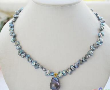 0002031 black BAROQUE Keshi Reborn PEARL Necklace Pendant AAA