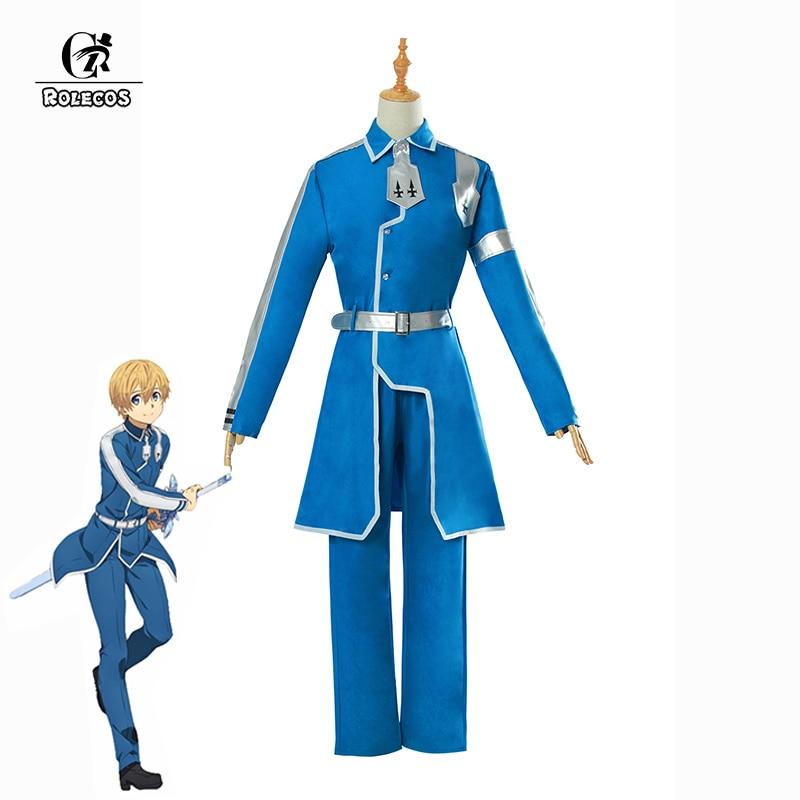 ROLECOS Japanese Anime Sword Art Online Eugeo Cosplay Costume SAO Alicization Cosplay Costume Men Cosplay Blue Uniform Full Set
