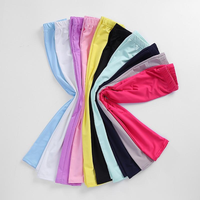 Girl Pants Spring Summer Candy Color Girls Shiny Leggings Skinny Pants 3-14Y Children Kids Elastic Leggings Solid Color Trousers 6