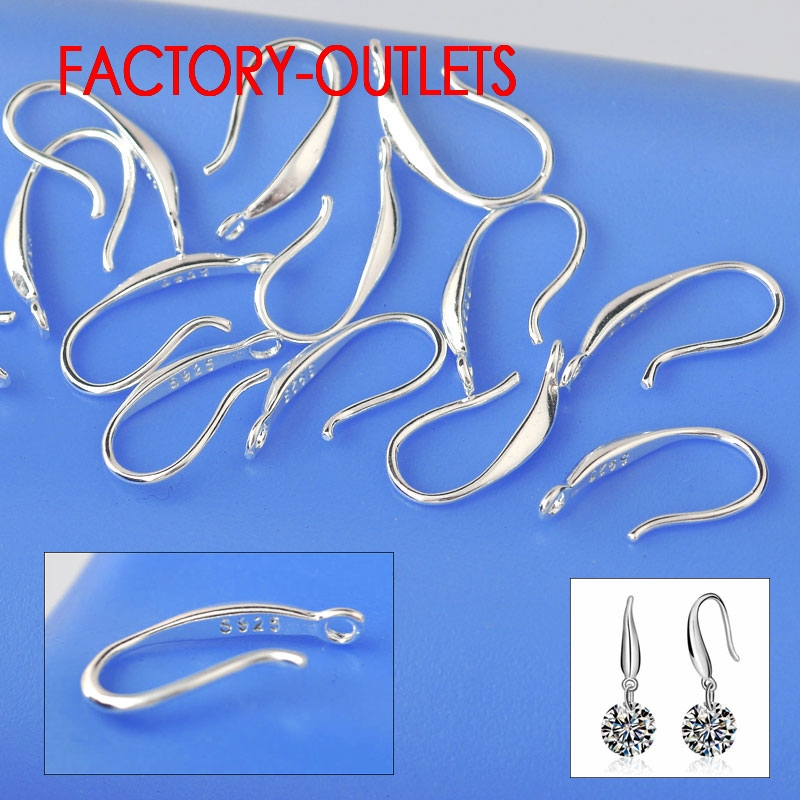 Wholesale 50PCS Fashion Jewelry Findings Genuine 925 Sterling Silver Earrings For Women Smooth Hook Ear For Design DIY