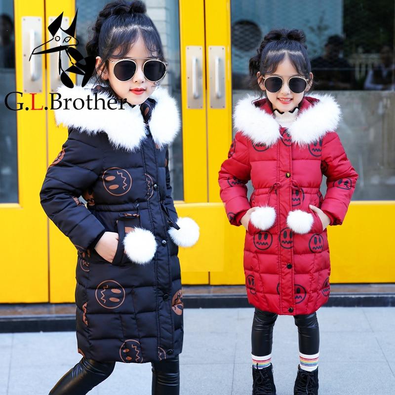 2018 New Fashion Girl Winter Jacket Long Children Korean Coat Kids Thick Fur Collar Hooded Coats Cotton Teenage Girls Parka JL13 стоимость