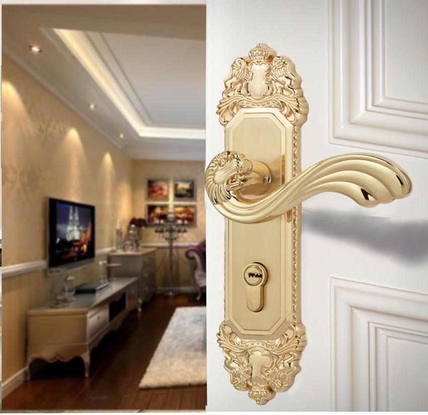 купить Modern fashion brushed gold Indoor mute door lock retro style bronze bedroom bookroom solid wooden door lock по цене 1121.42 рублей