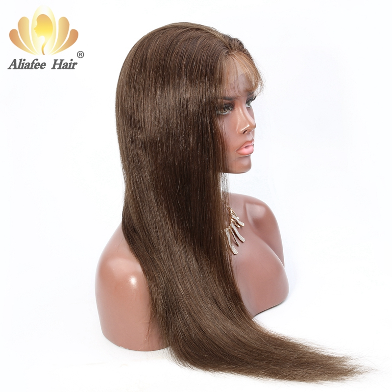Ali Afee Hair Color 4 Full Lace Human Hair Wigs Brazilian Straight Hair Wig 130 Density