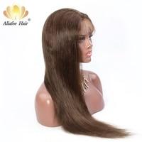 Али Afee волос Цвет #4 полный шнурок человеческих волос Парики Бразильский прямые волосы парик 130% плотность с предварительно сорвал парик из н