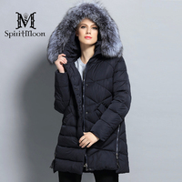 SpiritMoon 2017 New Winter Women Bio Down Jacket Hooded Thick Coat Winter Parka With Natural Silver
