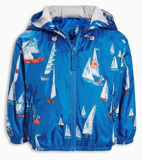 2016 Niños bebés chaqueta deportiva Azul vela doble forro de algodón con capucha de la chaqueta/abrigo al por mayor