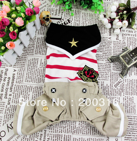 Wholesale New cute Khaki Cowboy couple clothing for dog Free shipping dogs dress costumes